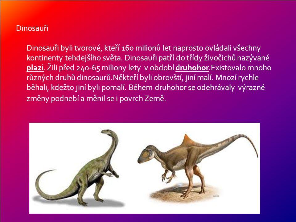 Dinosauři Dinosauři byli tvorové, kteří 160 milionů let naprosto ovládali všechny kontinenty tehdejšího světa.