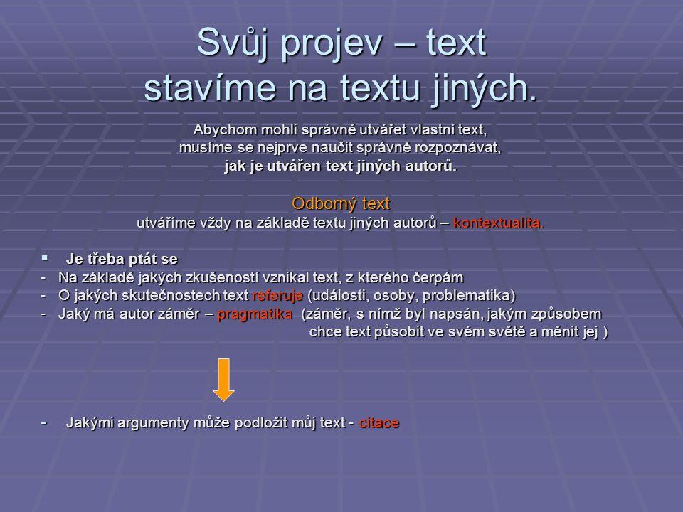 Svůj projev – text stavíme na textu jiných.