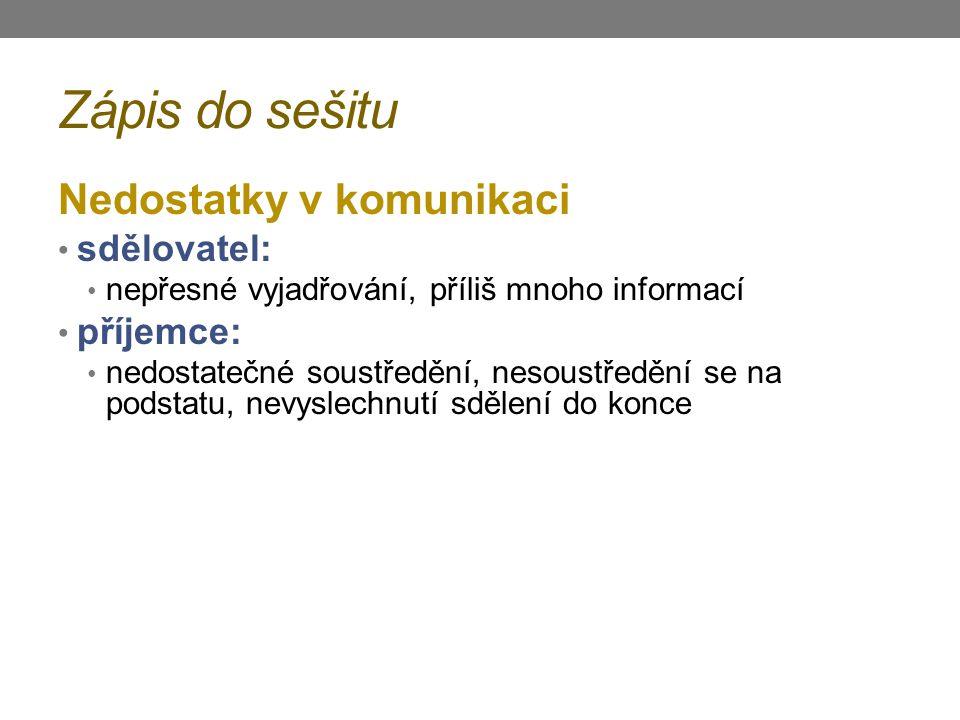 Zápis do sešitu Nedostatky v komunikaci sdělovatel: příjemce: