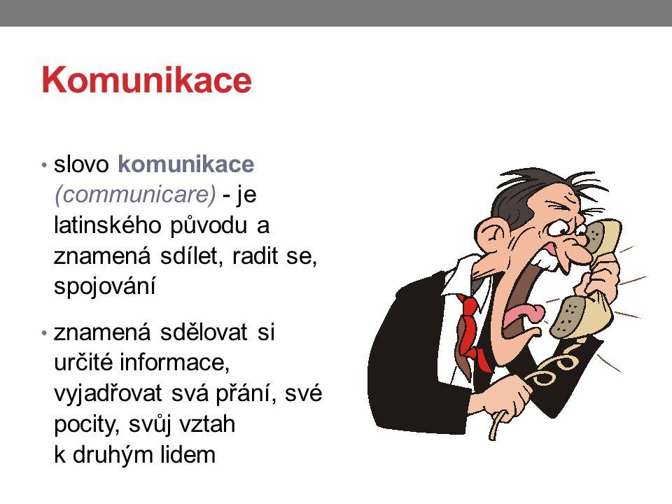 Komunikace slovo komunikace (communicare) - je latinského původu a znamená sdílet, radit se, spojování.