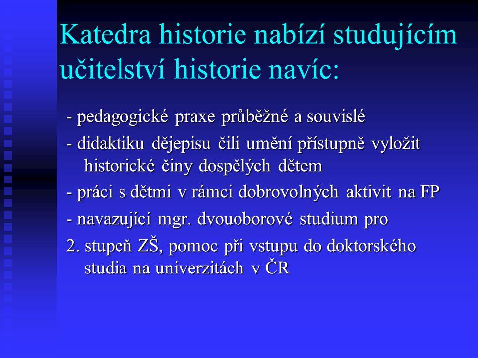 Katedra historie nabízí studujícím učitelství historie navíc: