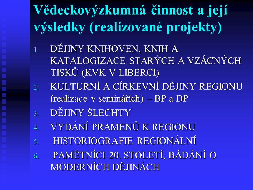 Vědeckovýzkumná činnost a její výsledky (realizované projekty)