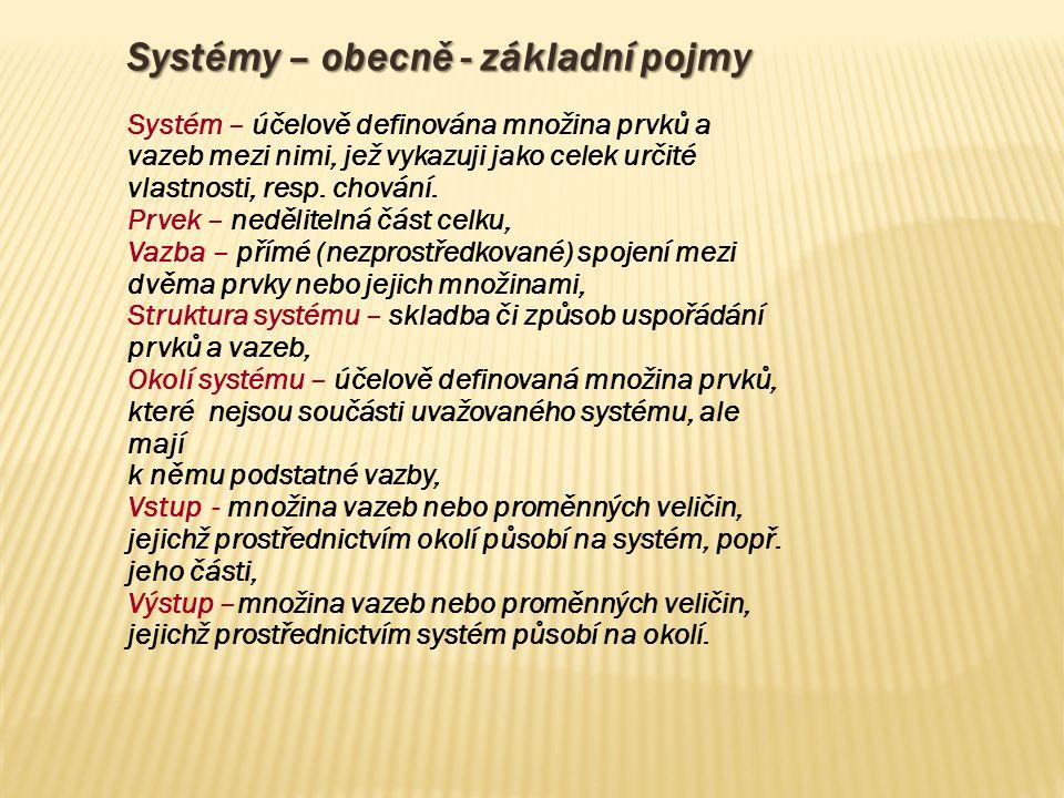 Systémy – obecně - základní pojmy