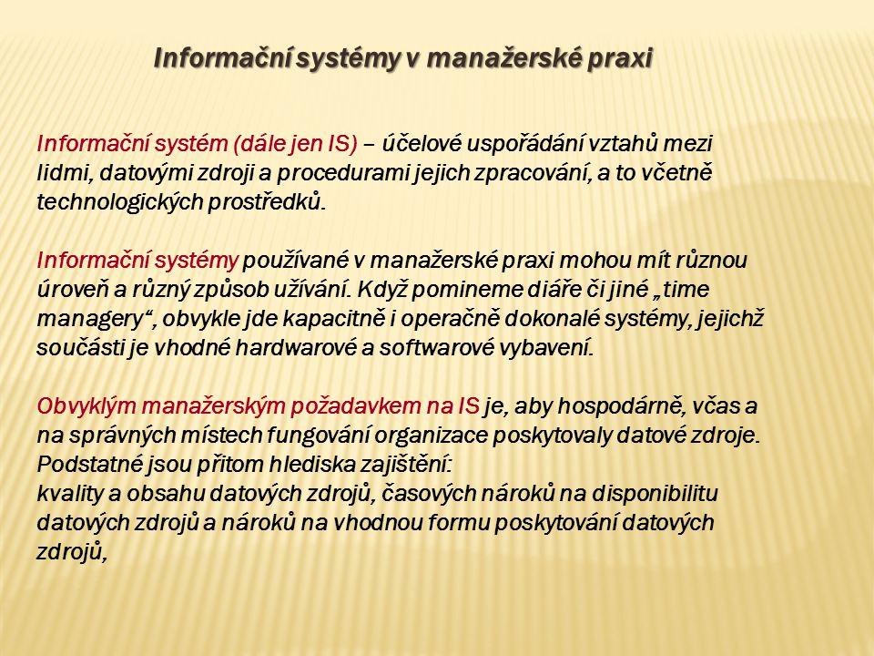Informační systémy v manažerské praxi