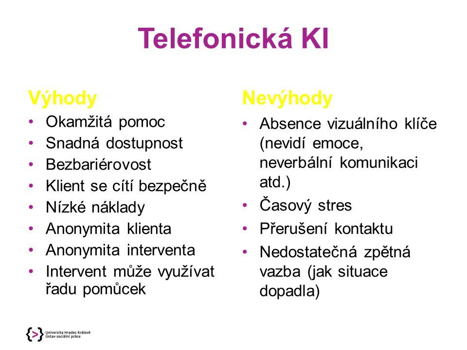 Telefonická KI Výhody Nevýhody Okamžitá pomoc Snadná dostupnost