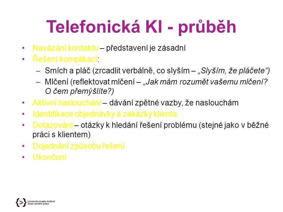 Telefonická KI - průběh