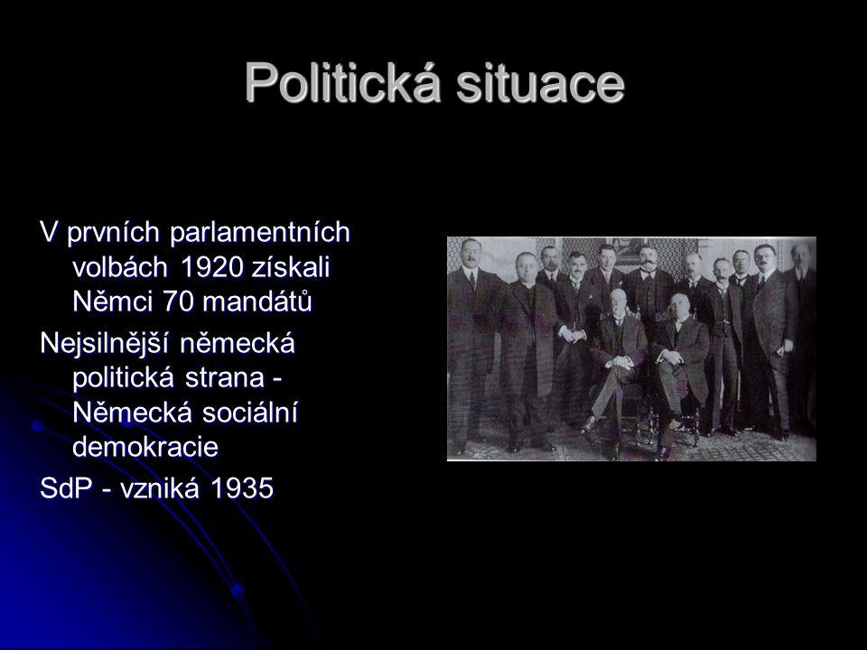 Politická situace V prvních parlamentních volbách 1920 získali Němci 70 mandátů. Nejsilnější německá politická strana - Německá sociální demokracie.