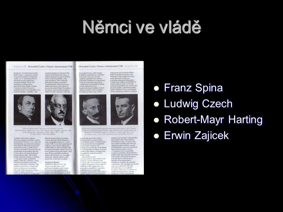 Němci ve vládě Franz Spina Ludwig Czech Robert-Mayr Harting