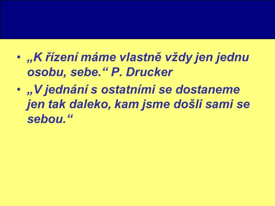 """""""K řízení máme vlastně vždy jen jednu osobu, sebe. P. Drucker"""