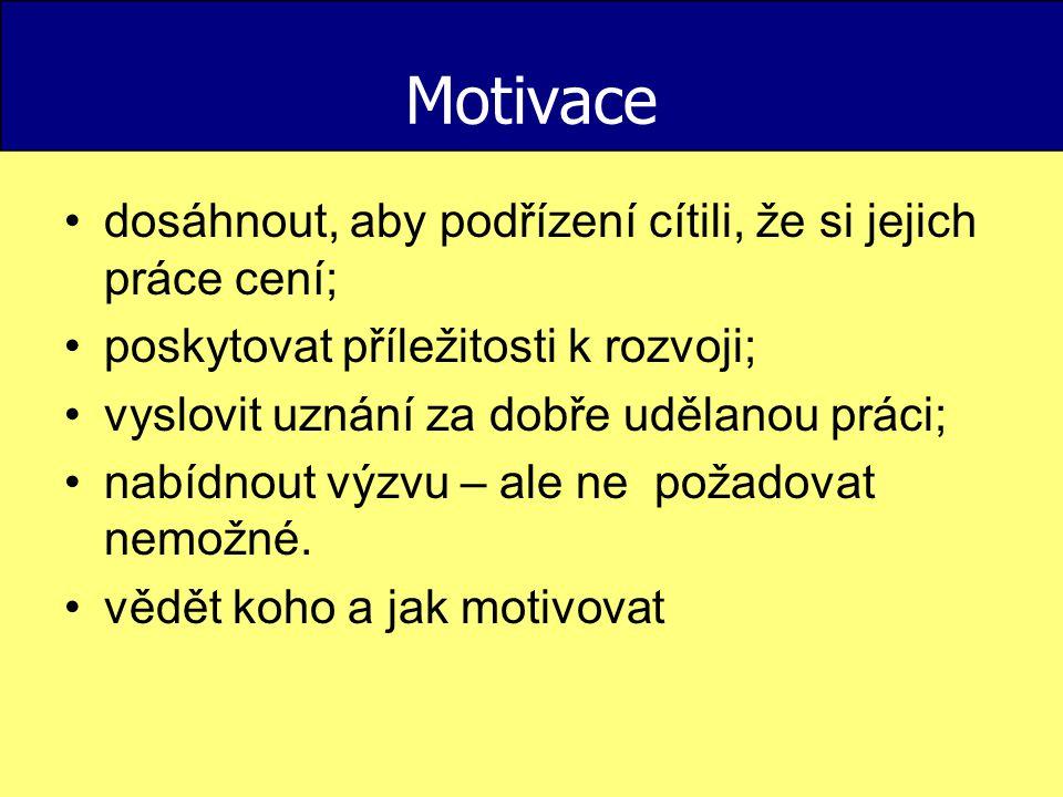 Motivace dosáhnout, aby podřízení cítili, že si jejich práce cení;