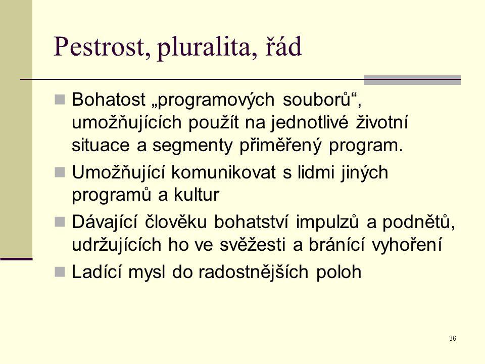 Pestrost, pluralita, řád