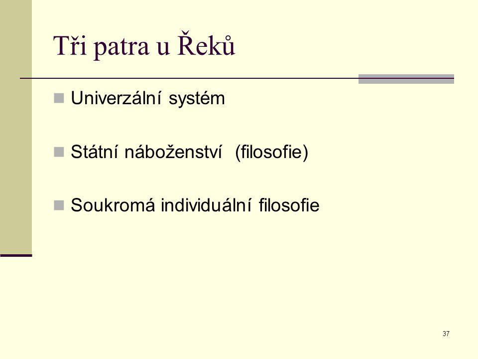 Tři patra u Řeků Univerzální systém Státní náboženství (filosofie)