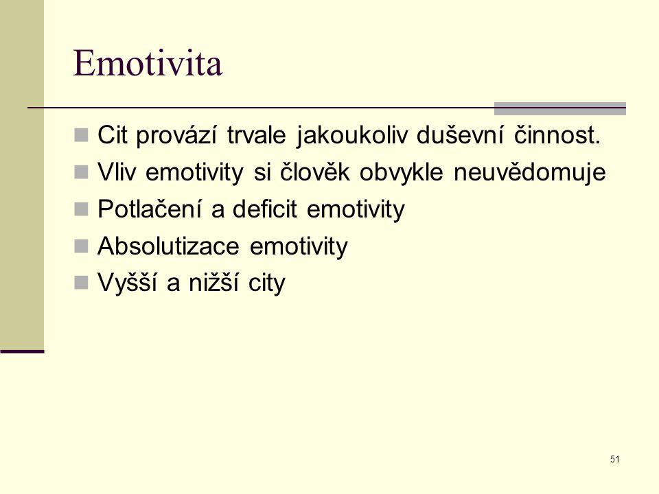 Emotivita Cit provází trvale jakoukoliv duševní činnost.
