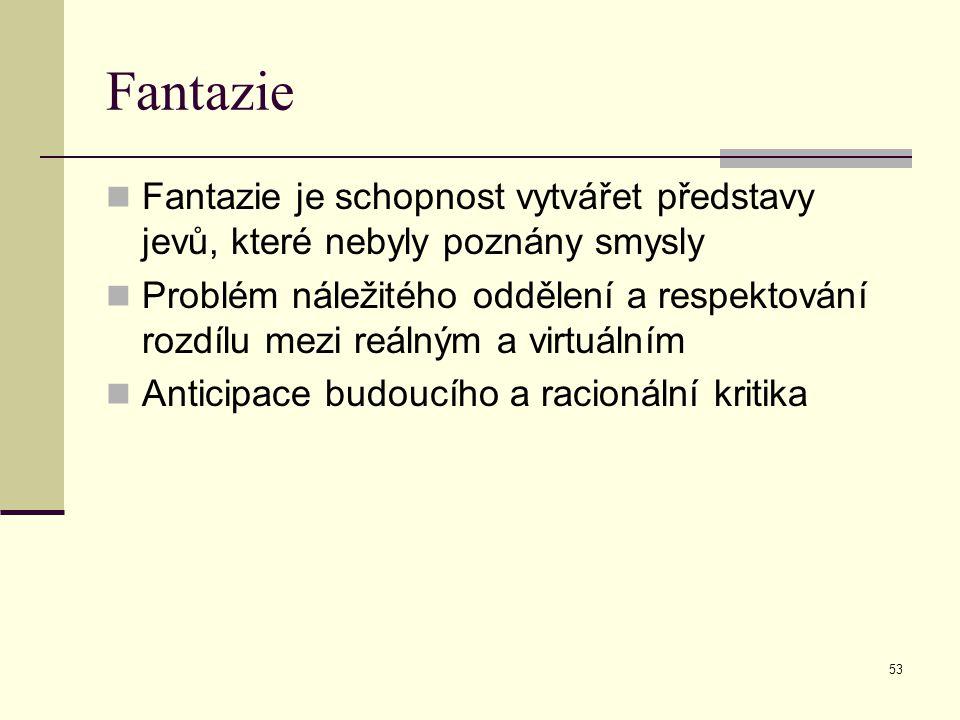 Fantazie Fantazie je schopnost vytvářet představy jevů, které nebyly poznány smysly.