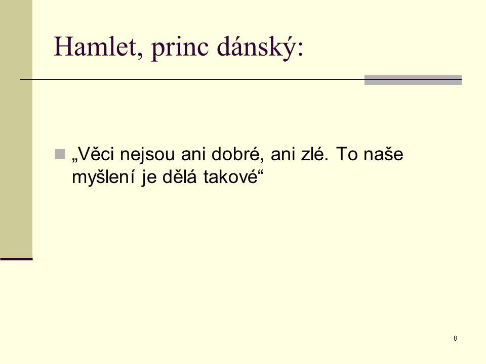 """Hamlet, princ dánský: """"Věci nejsou ani dobré, ani zlé. To naše myšlení je dělá takové"""