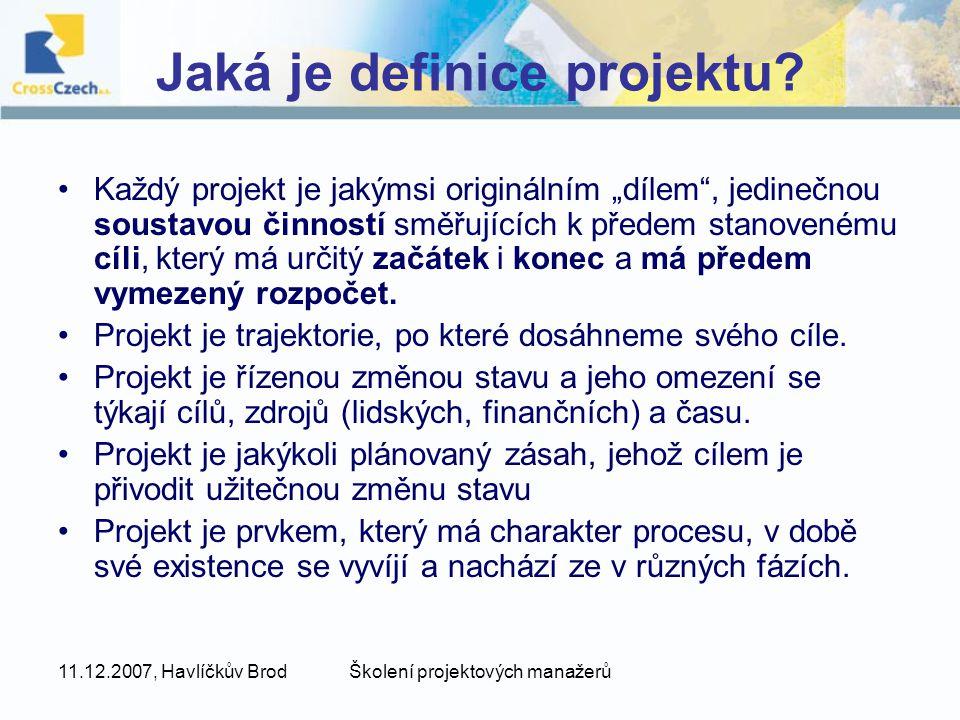 Jaká je definice projektu