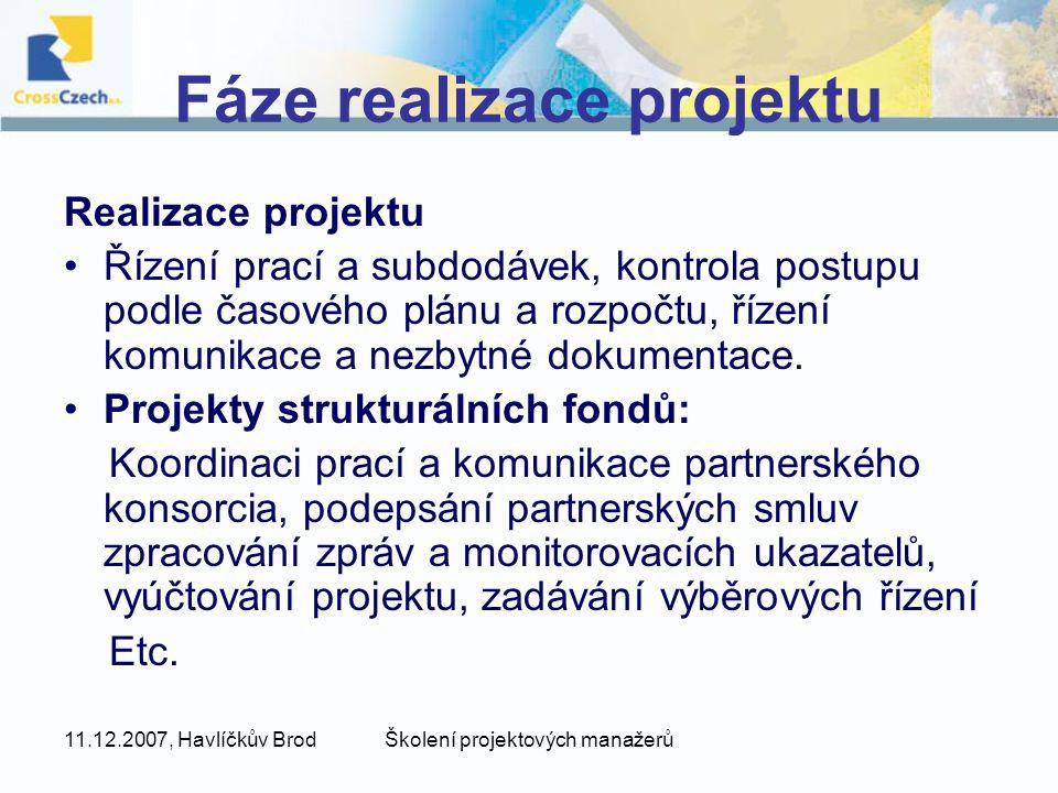 Fáze realizace projektu