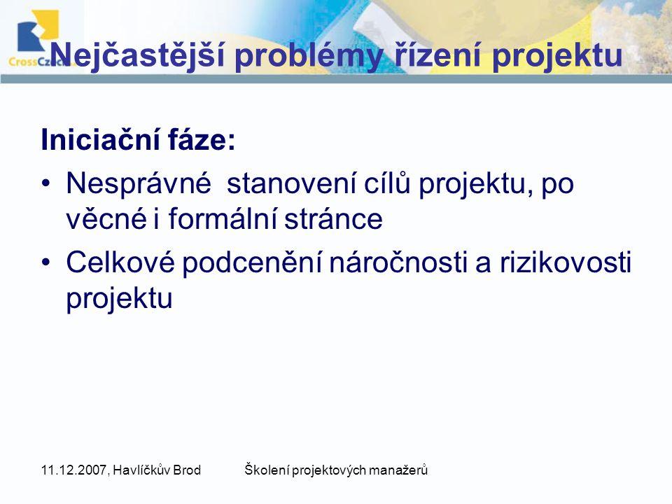 Nejčastější problémy řízení projektu