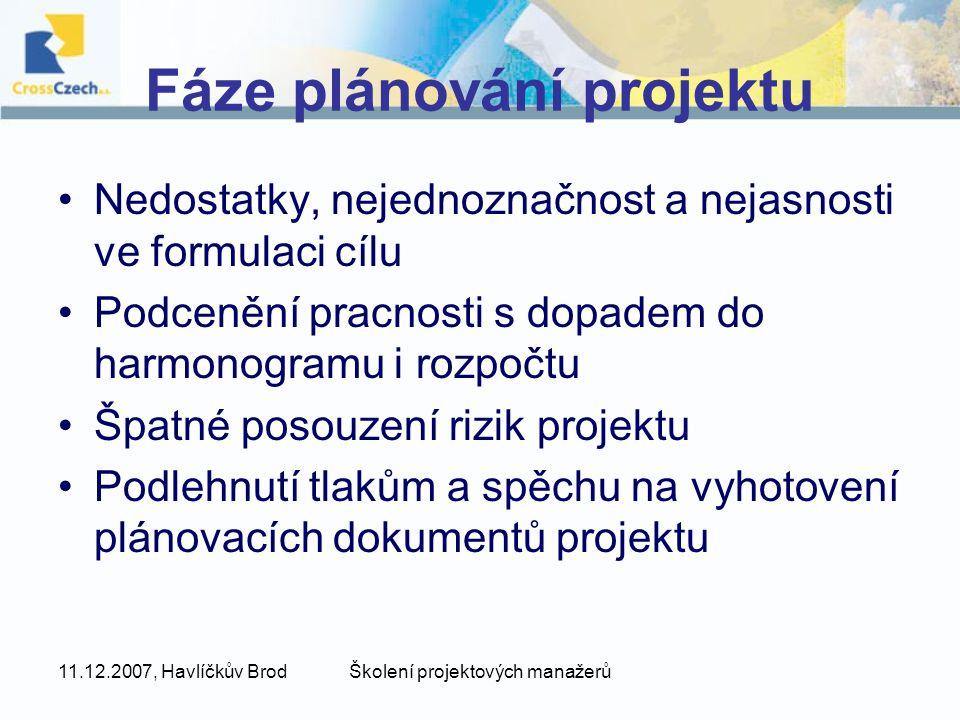 Fáze plánování projektu