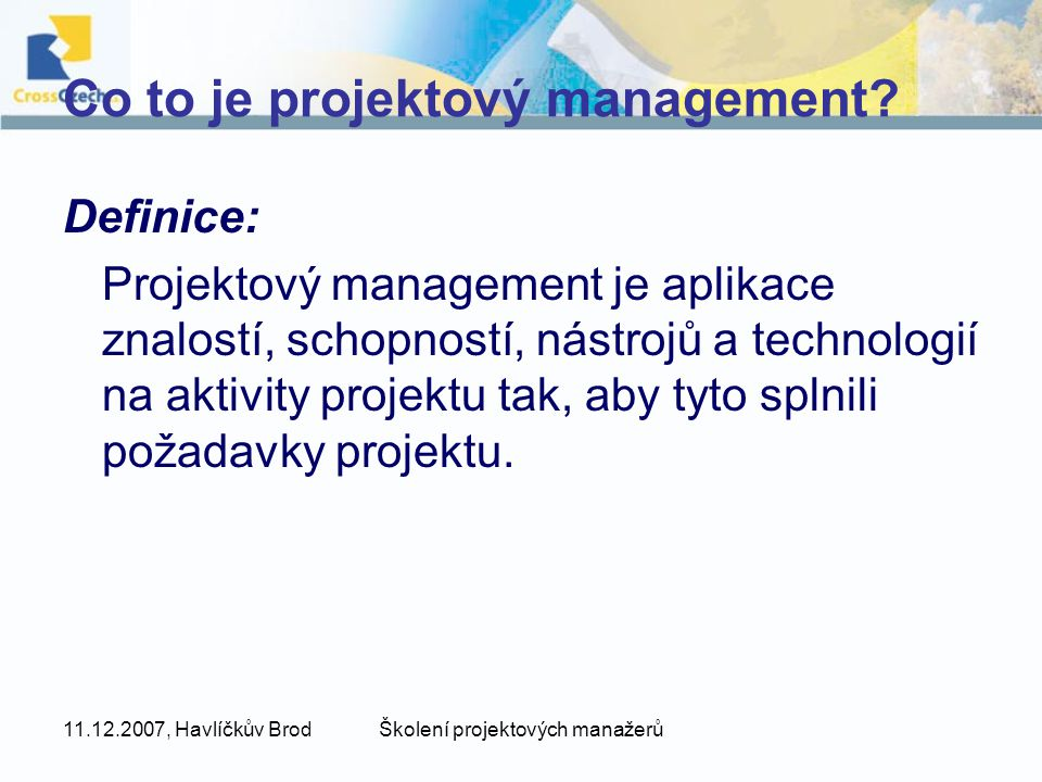 Co to je projektový management