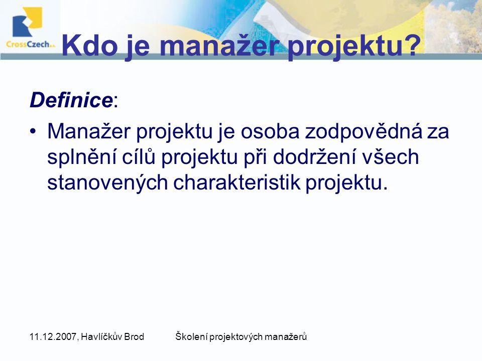 Kdo je manažer projektu
