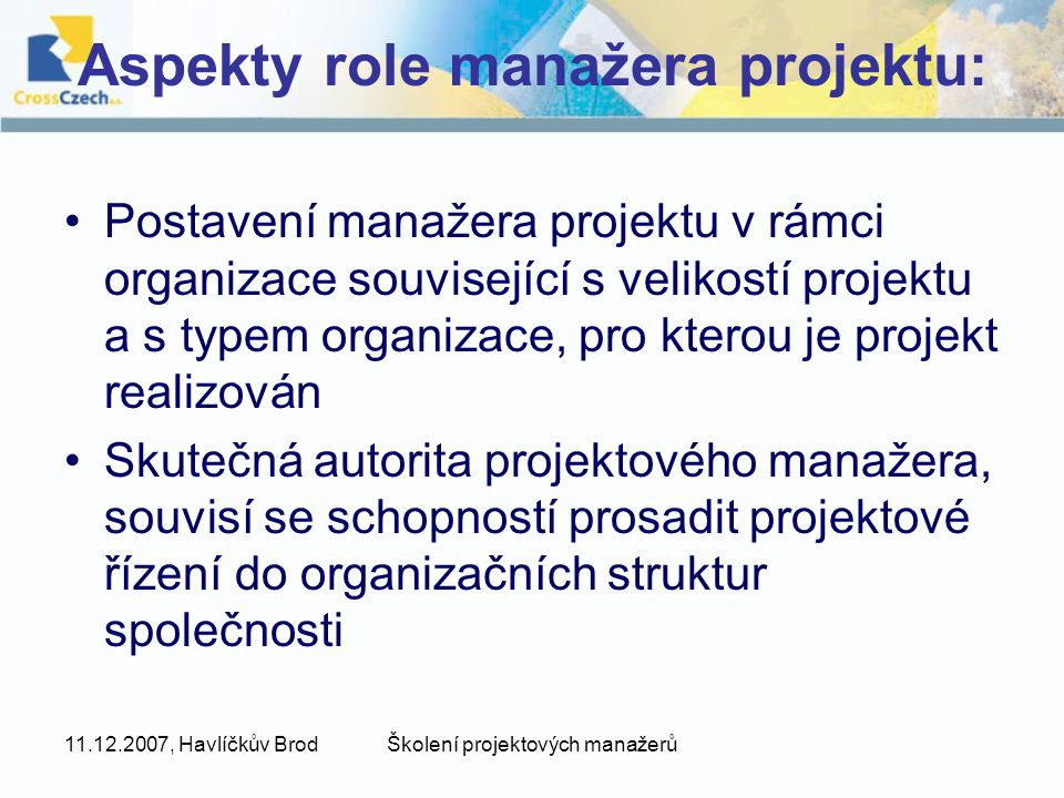 Aspekty role manažera projektu: