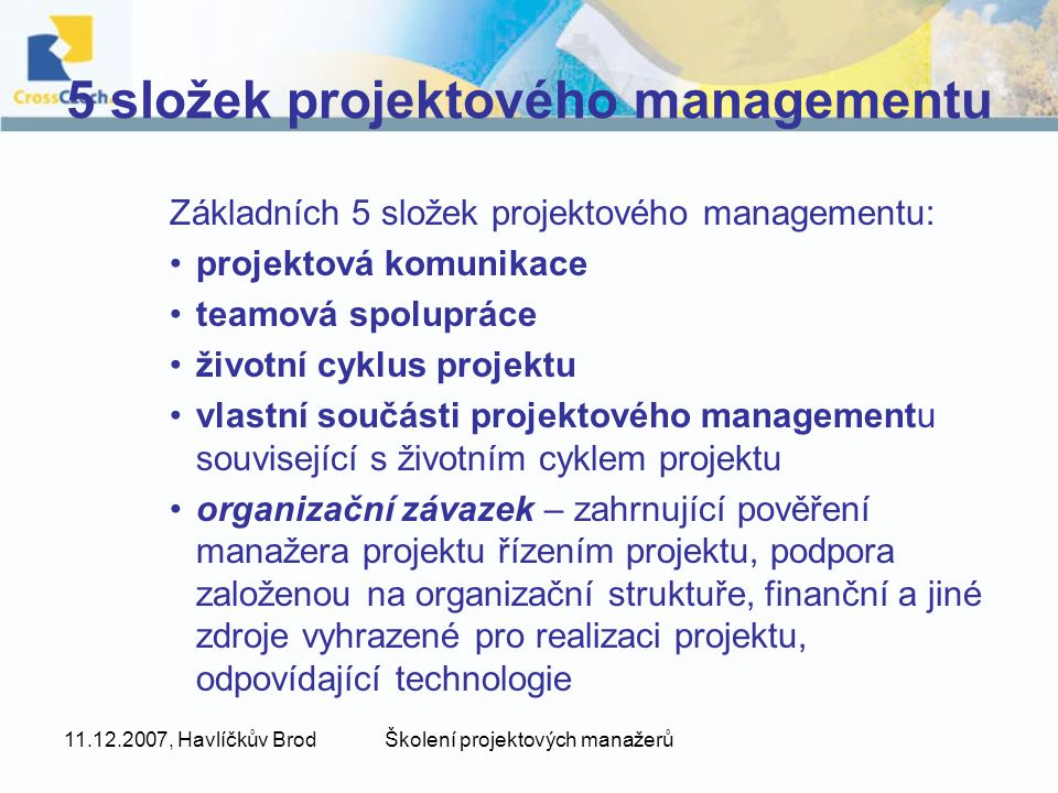 5 složek projektového managementu