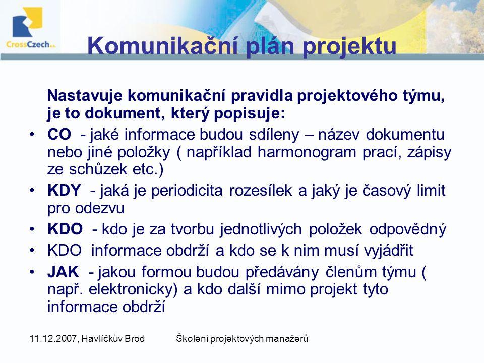 Komunikační plán projektu