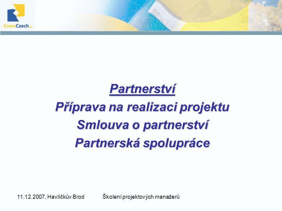 Příprava na realizaci projektu Partnerská spolupráce