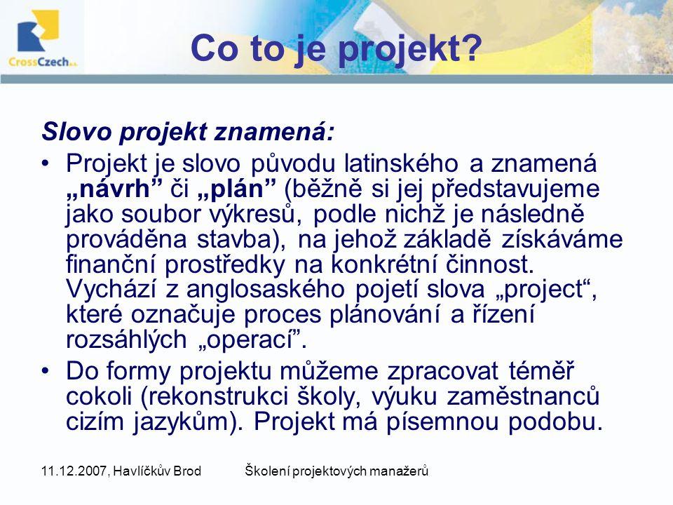 Školení projektových manažerů