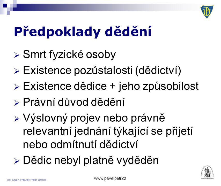 Předpoklady dědění Smrt fyzické osoby
