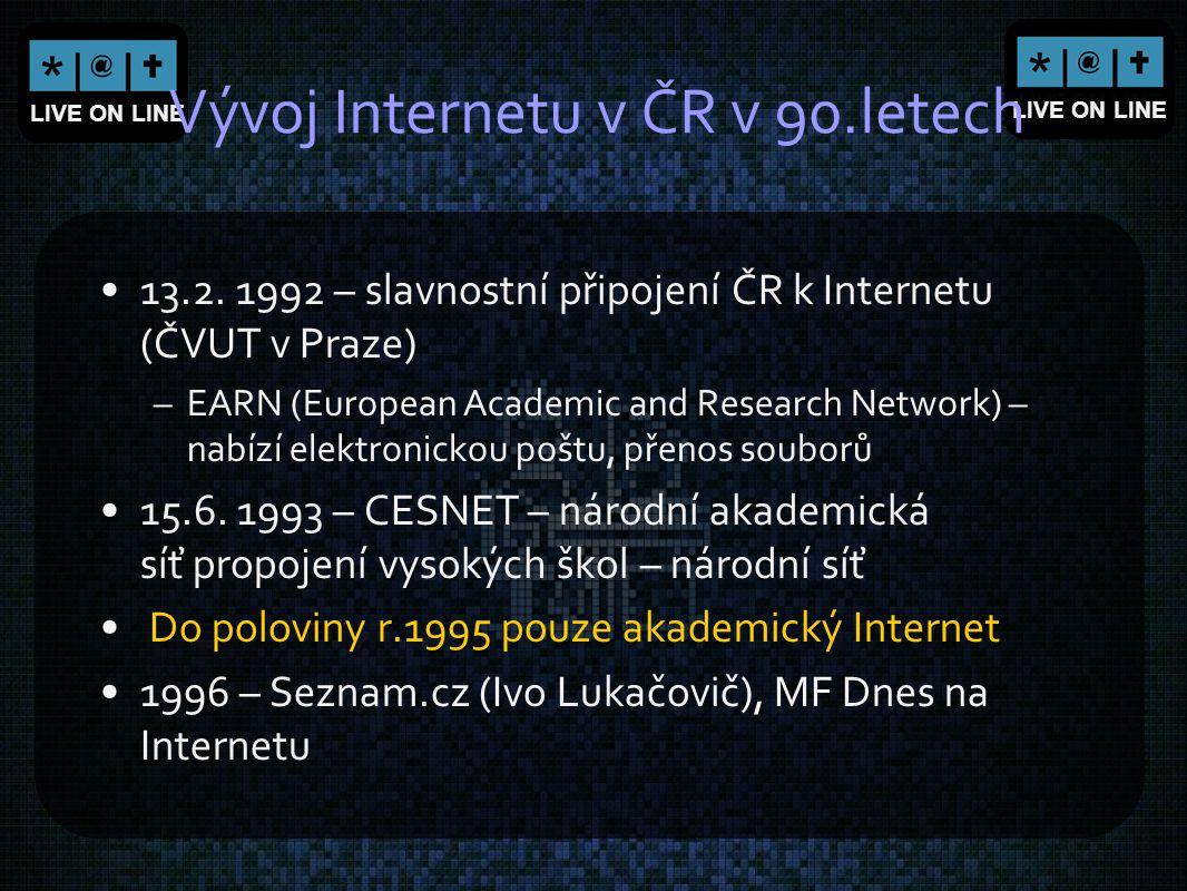 Vývoj Internetu v ČR v 90.letech
