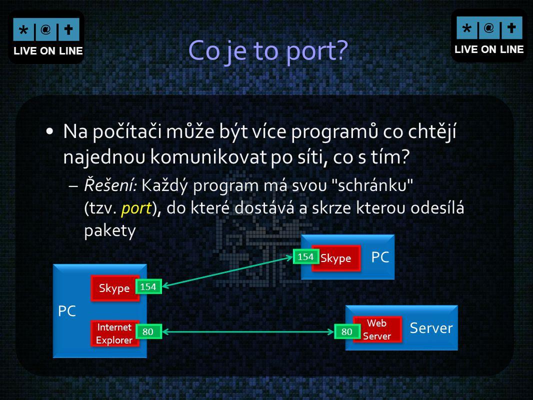 Co je to port Na počítači může být více programů co chtějí najednou komunikovat po síti, co s tím