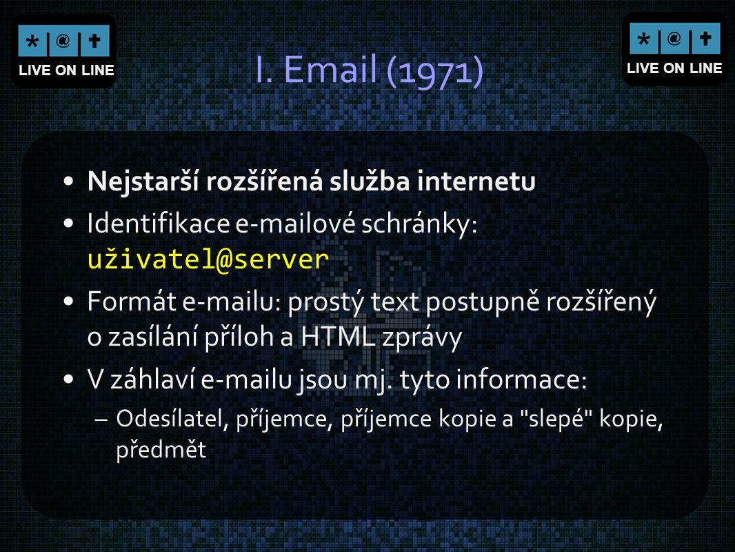 I. Email (1971) Nejstarší rozšířená služba internetu