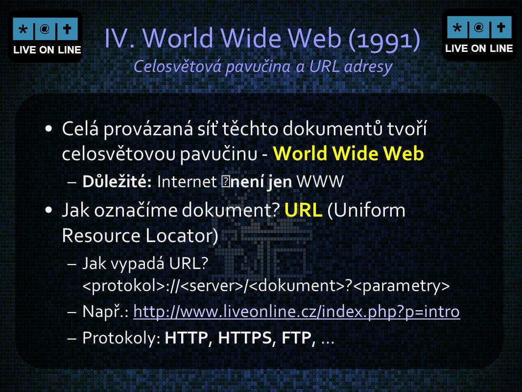 IV. World Wide Web (1991) Celosvětová pavučina a URL adresy