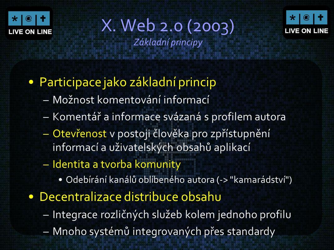 X. Web 2.0 (2003) Základní principy