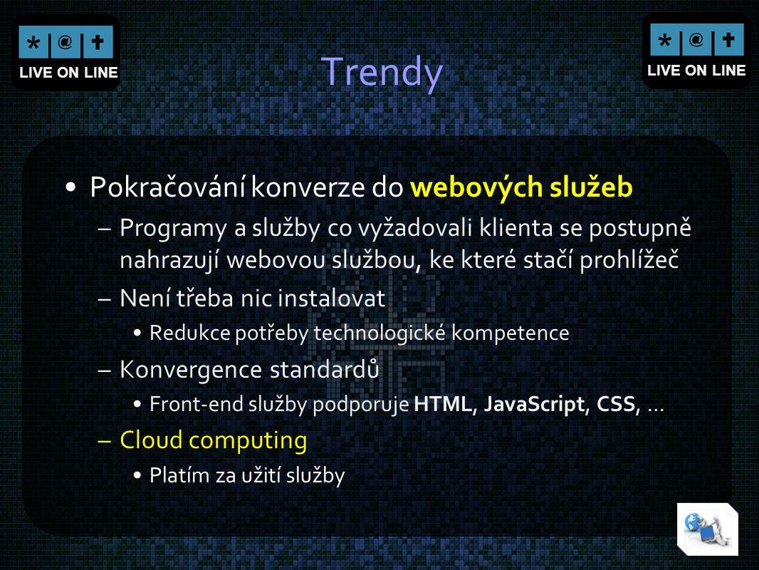 Trendy Pokračování konverze do webových služeb