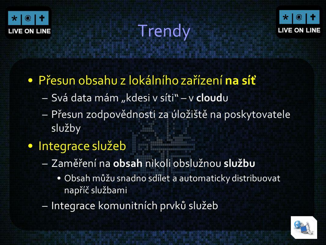 Trendy Přesun obsahu z lokálního zařízení na síť Integrace služeb