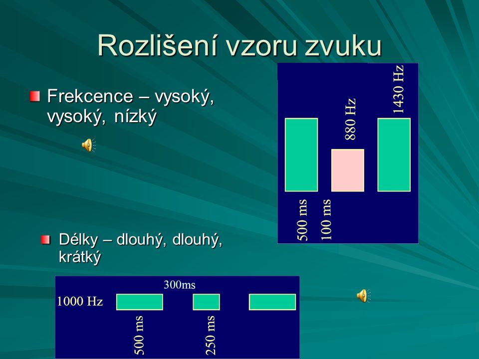 Rozlišení vzoru zvuku Frekcence – vysoký, vysoký, nízký