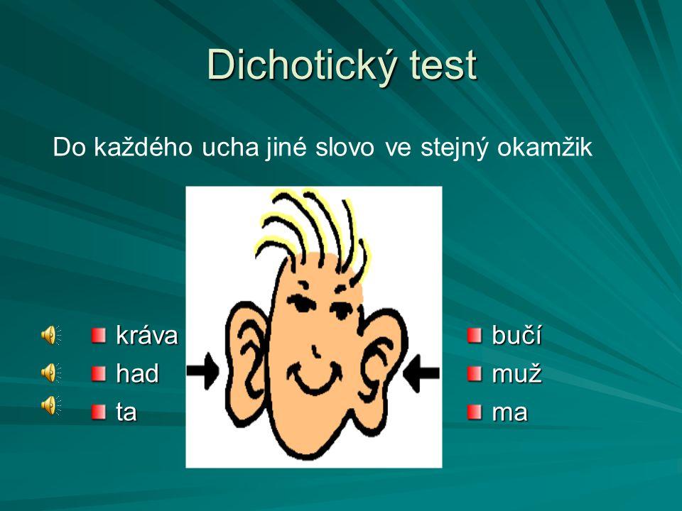Dichotický test Do každého ucha jiné slovo ve stejný okamžik kráva had