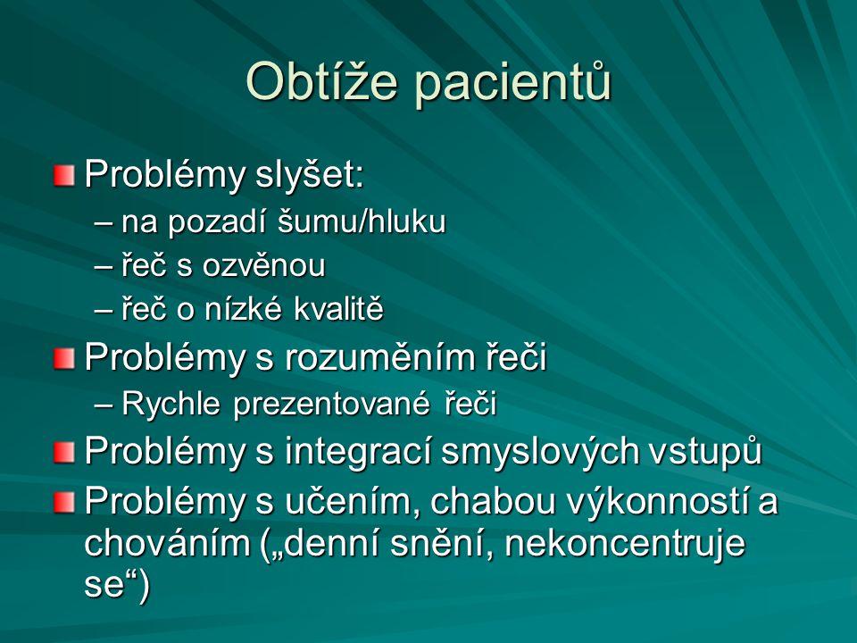Obtíže pacientů Problémy slyšet: Problémy s rozuměním řeči