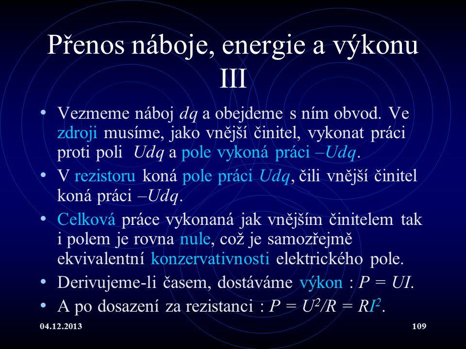Přenos náboje, energie a výkonu III