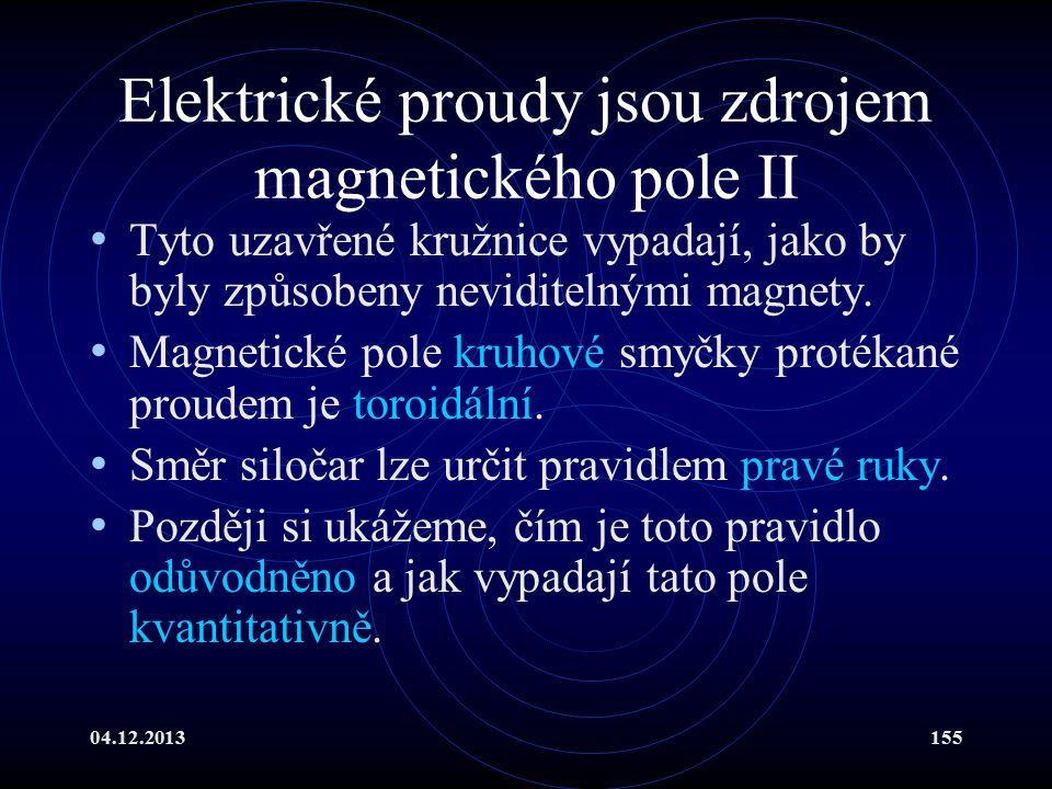 Elektrické proudy jsou zdrojem magnetického pole II