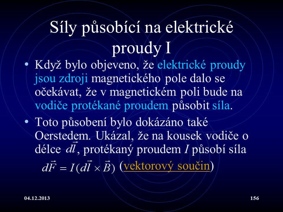 Síly působící na elektrické proudy I