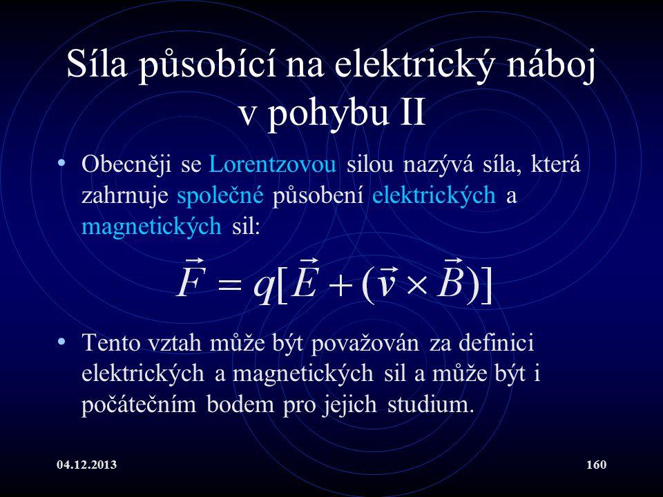 Síla působící na elektrický náboj v pohybu II