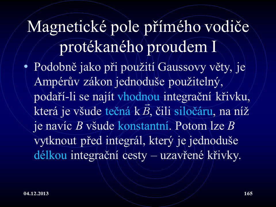 Magnetické pole přímého vodiče protékaného proudem I