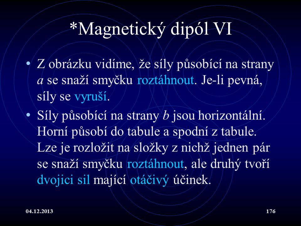 *Magnetický dipól VI Z obrázku vidíme, že síly působící na strany a se snaží smyčku roztáhnout. Je-li pevná, síly se vyruší.