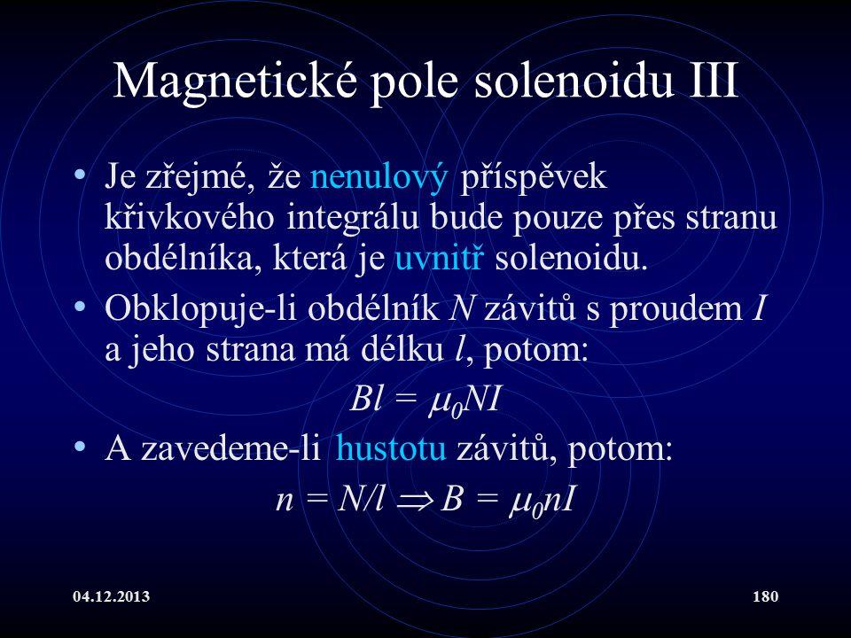 Magnetické pole solenoidu III