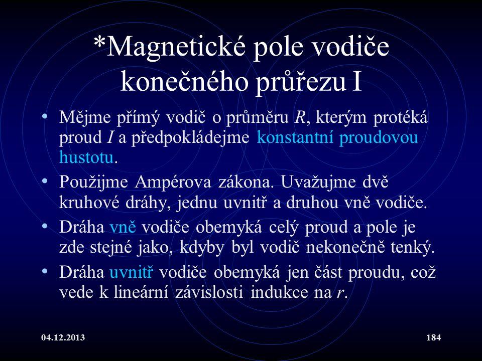 *Magnetické pole vodiče konečného průřezu I