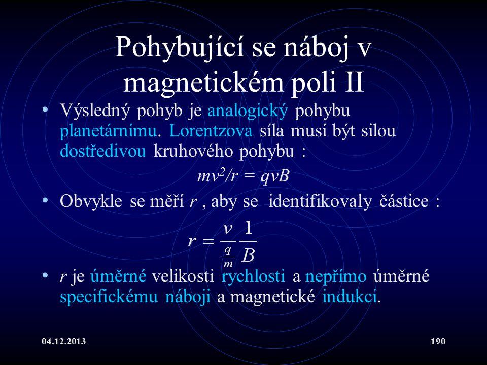 Pohybující se náboj v magnetickém poli II